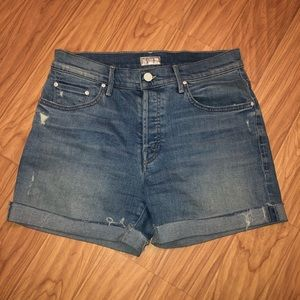 MOTHER denim jean Loosey Fray cuffed shorts 26